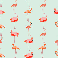 Seamless colorful background made of Flamingo in flat simple des