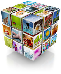 cubic structure with colorful pictures