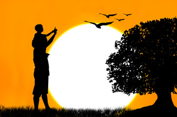father use hand point the eagle on the sky sunset