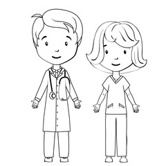 Coloring book: Cartoon doctor and nurse