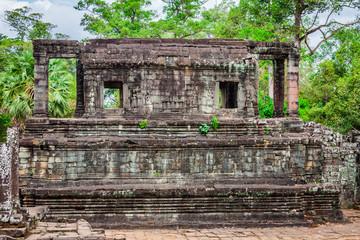 Angkor Thom Cambodia. Bayon khmer temple on Angkor Wat historica