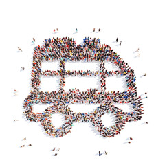 people in the shape of a bus.