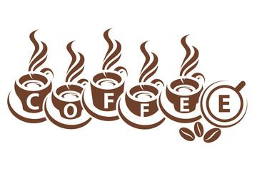 design of monochrome coffee cups