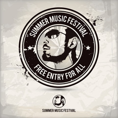 summer music festival stamp on textured background