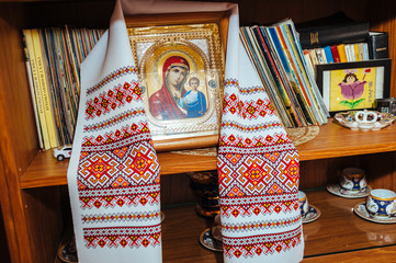 traditional Icon and Embroidered wedding Towel. orthodox