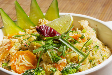 Thai Khao Pad - special fried rice with mixed vegetables,.egg an