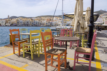 Restaurants with colorful tables and chairs. Ermoupoli. Syros.