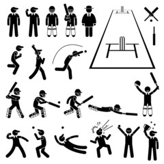 Cricket Player Actions Poses Illustrations
