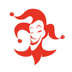 Red joker with a sly look and smile.