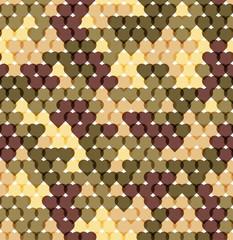Military romantic seamless pattern of heart khaki