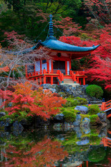 Red Japanese Pavilion Beside the Pond at Daigoji Temple Japan