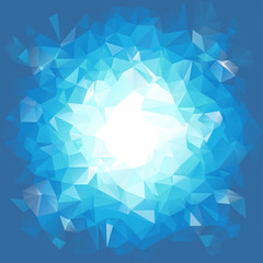 Blue triangular explosion in a low poly style. EPS8 Vector