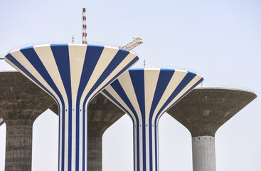 Five half-finished water towers in Jaber al-Ahmed, Kuwait