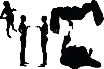 woman silhouette with hand gesture finger pointing