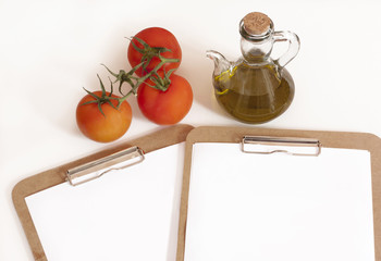 Restaurant menu template with tomatoes and bottle of olive oil
