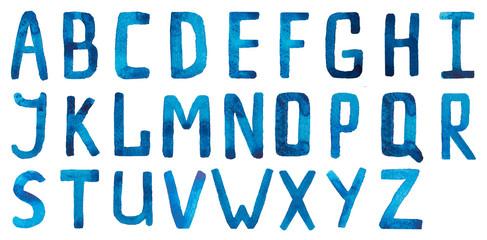 Watercolor, watercolour blue alphabet, calligraphy, alphabet