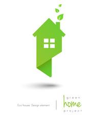 Eco-friendly green home logo as map pin design