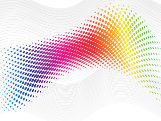 Rainbow halftone abstract wave with blend