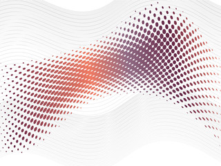 Purple orange halftone abstract wave with blend