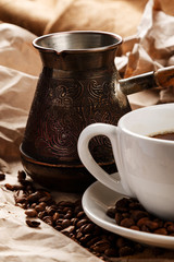 Coffee cup and cezve for turkish coffee
