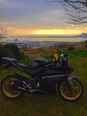 Poster Motorcycle Sportsbike Sunset