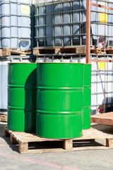 Old green barrels