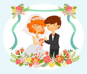 vintage style cartoon of bride and groom with floral ornaments