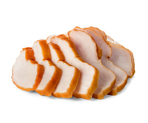 Chicken fillet smoked whole and sliced isolated.