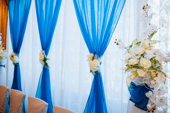 Head table for newlyweds at the wedding hall