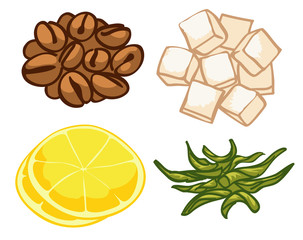 set of stylized images coffee tea lemon refined sugar