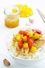 mango chicken stir fry with rice