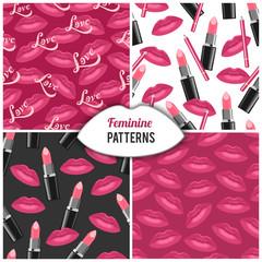 Beauty salon make up fashion cosmetics seamless patterns set