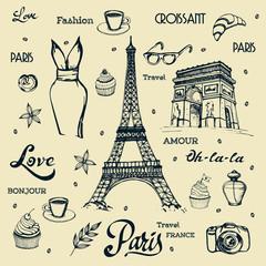 Paris hand drawn illustration with Eiffel tower  vector symbols