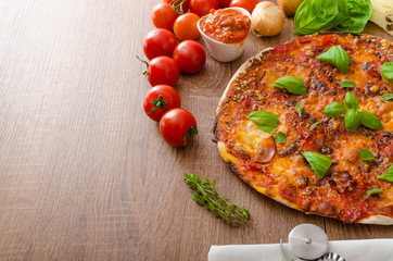 Cheese pizza with chilli and basil