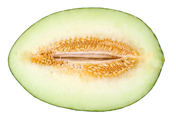 Half a melon isolated on a white background. Piel de sapo
