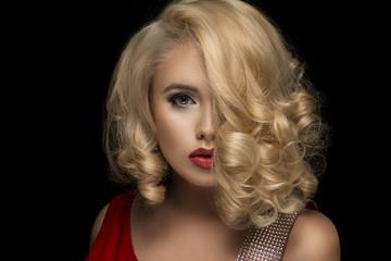 Sensual beautiful blonde woman posing.
