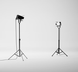 White studio with equipment. 3d rendering