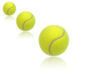 Wall Mural - Tennis balls with reflections