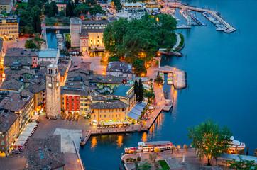 Lake Garda, Town of Riva del Garda, Italy (blue hour) Wall mural