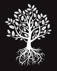 White vector tree and roots