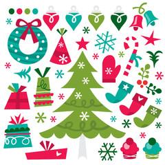 Whimsical Retro Christmas Design Elements