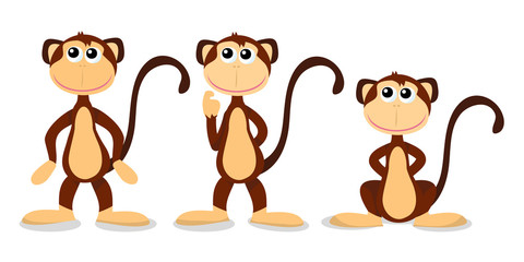 Cartoon Three Monkey Poses