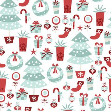 Alpine Retro Christmas Seamless Pattern Background