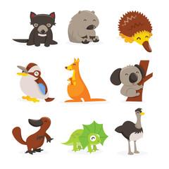 Cute Cartoon Australian Animals Icon Set