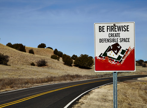 Road Sign for defensible space