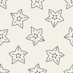 Star fruit doodle seamless pattern background
