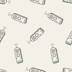 Remote control doodle seamless pattern background