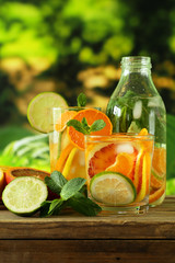 Summer citrus lemonade with orange, lime and lemon