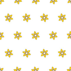 Seamless pattern with cartoon yellow flowers.