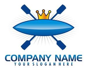 kayaking rafting rown blue logo image vector